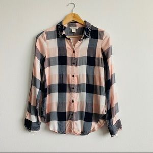 H&M | Button Down Pink & Blue Paid Shirt